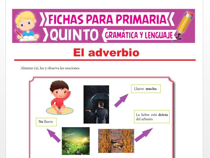 Ficha de Adverbio de Tiempo y de Lugar para Quinto Grado de Primaria