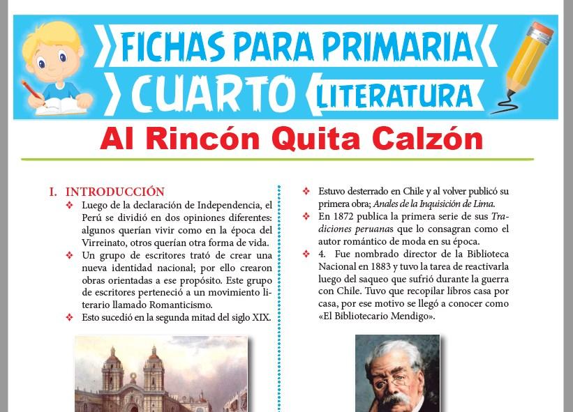 Ficha de Al Rincón Quita Calzón para Cuarto Grado de Primaria