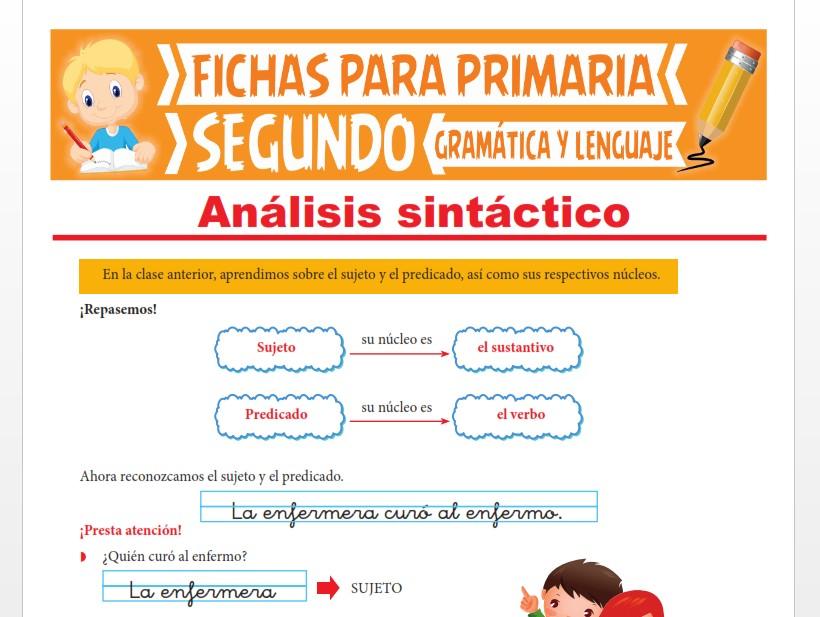 Ficha de Análisis Sintáctico de las Oraciones para Segundo Grado de Primaria
