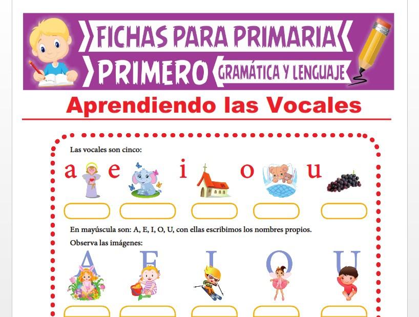 Ficha de Aprendiendo las Vocales para Primer Grado de Primaria