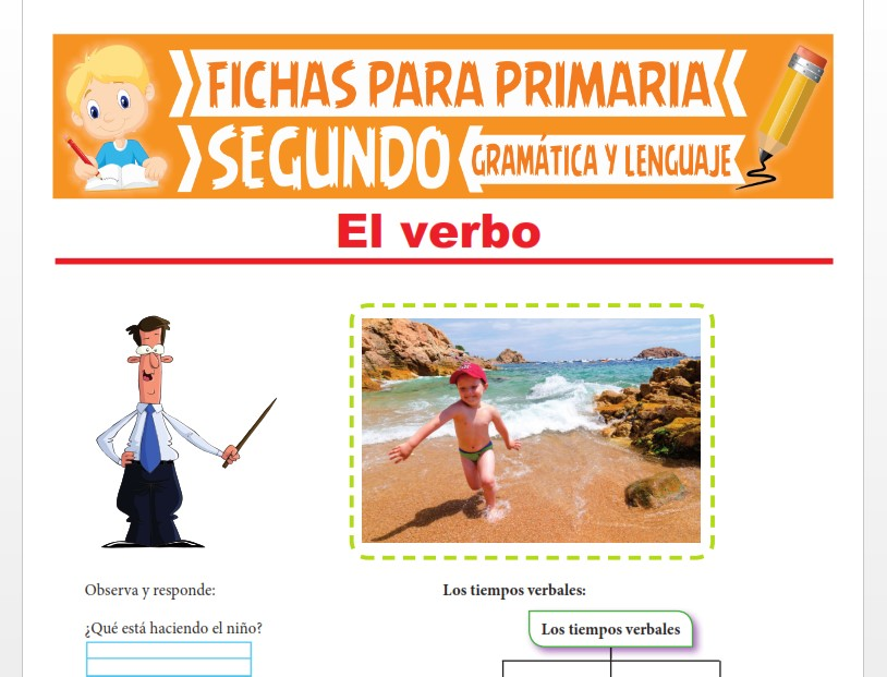 Ficha de Aprendiendo sobre el Verbo para Segundo Grado de Primaria
