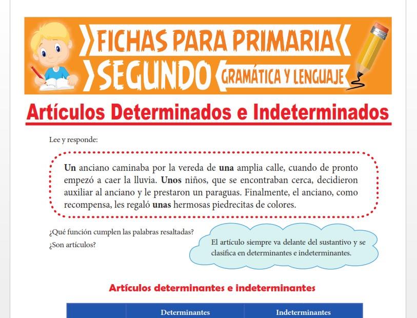 Ficha de Artículos Determinantes e Indeterminantes para Segundo Grado de Primaria