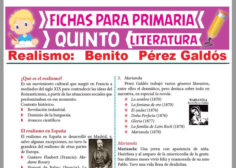 Ficha de Benito Pérez Galdós para Quinto Grado de Primaria