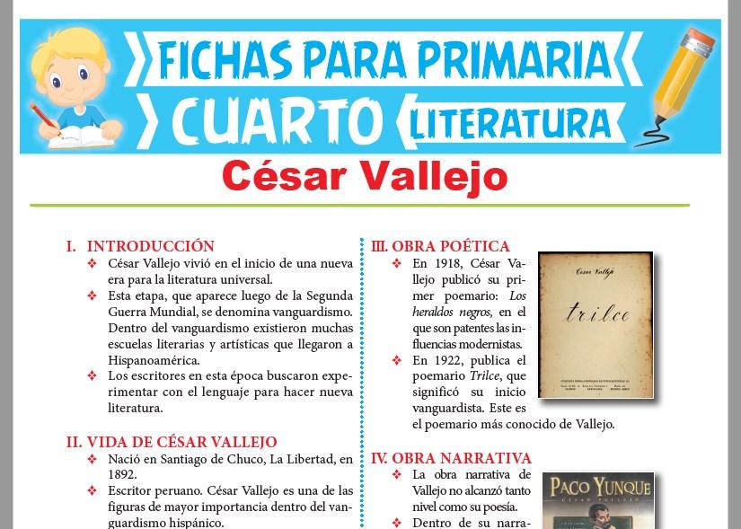 Ficha de César Vallejo para Cuarto Grado de Primaria
