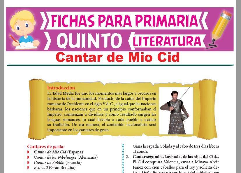 Ficha de Cantar de Mio Cid para Quinto Grado de Primaria