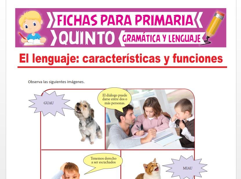 Ficha de Características y Funciones del Lenguaje para Quinto Grado de Primaria