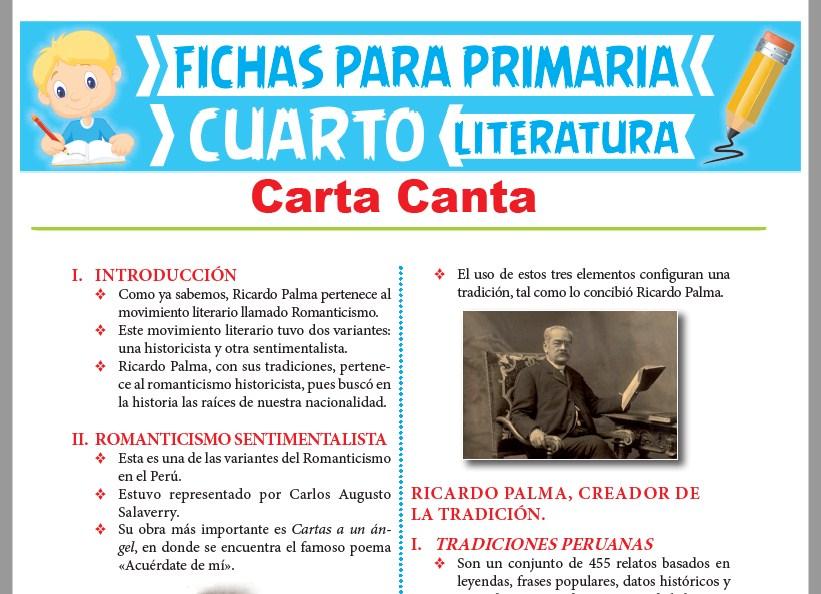 Ficha de Carta Canta para Cuarto Grado de Primaria