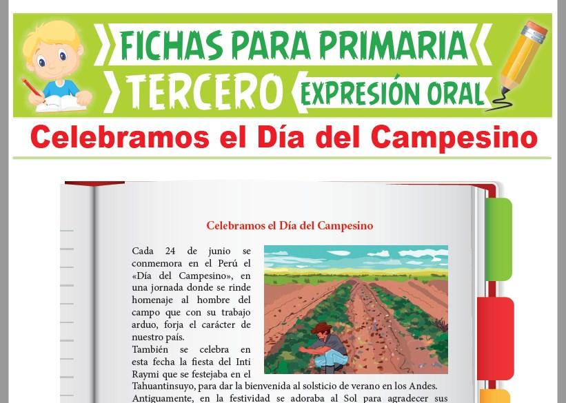 Ficha de Celebramos el Día del Campesino para Tercer Grado de Primaria