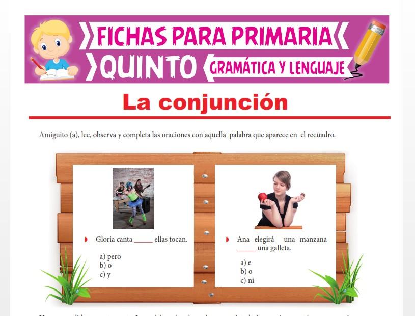 Ficha de Clases de Conjunciones para Quinto Grado de Primaria