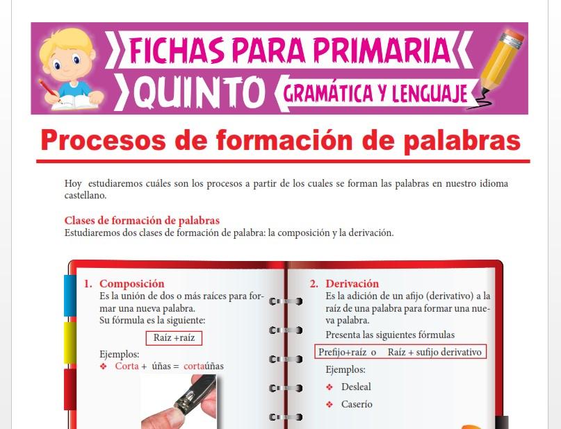 Ficha de Clases de Formación de Palabras para Quinto Grado de Primaria