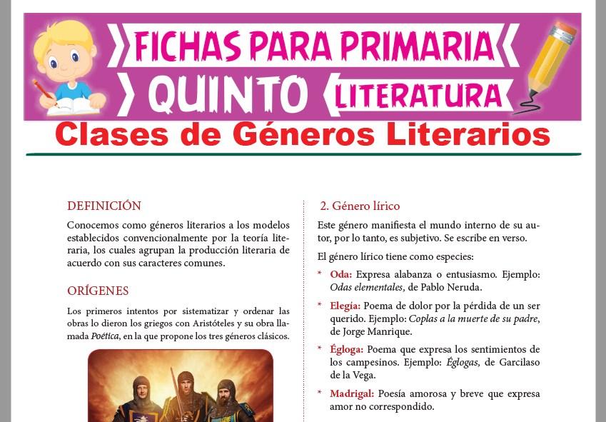 Ficha de Clases de Géneros Literarios para Quinto Grado de Primaria