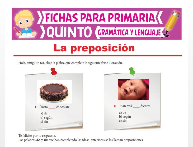 Ficha de Clases de Preposiciones para Quinto Grado de Primaria