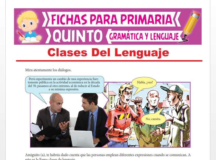Ficha de Clases del Lenguaje para Quinto Grado de Primaria