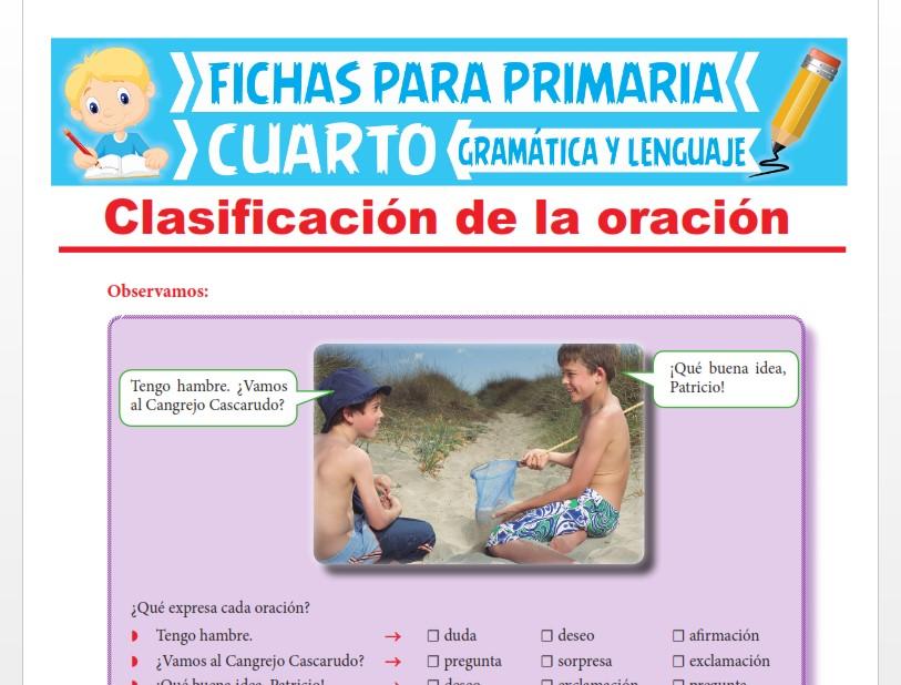 Ficha de Clasificación de la Oración para Cuarto Grado de Primaria