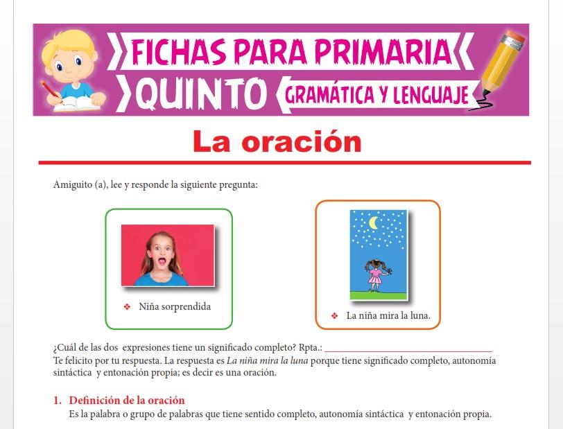 Ficha de Clasificación de las Oraciones para Quinto Grado de Primaria