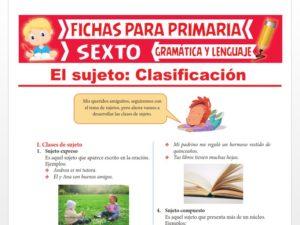 Ficha de Clasificación del Sujeto para Sexto Grado de Primaria