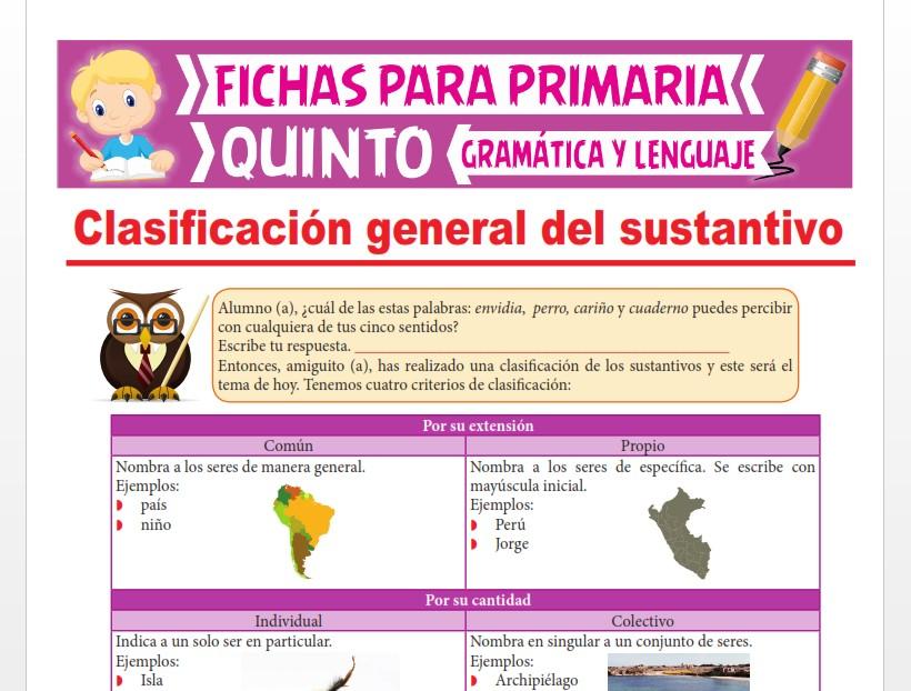 Ficha de Clasificación del Sustantivo para Quinto Grado de Primaria