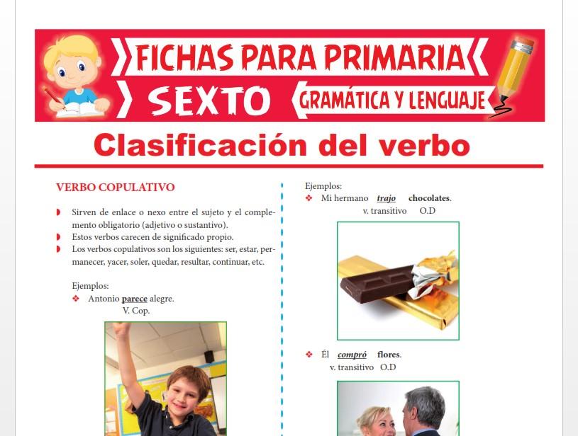 Ficha de Clasificación del Verbo para Sexto Grado de Primaria