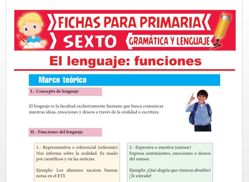 Ficha de Concepto y Funciones del Lenguaje para Sexto Grado de Primaria