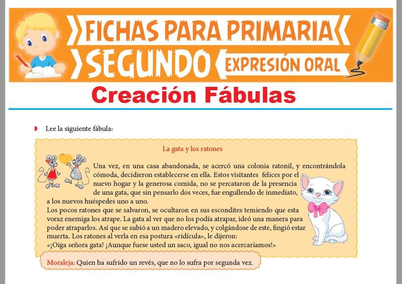Ficha de Creación Fábulas para Segundo Grado de Primaria
