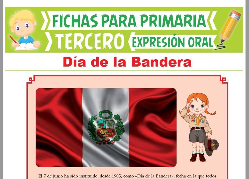 Ficha de Día de la Bandera para Tercer Grado de Primaria