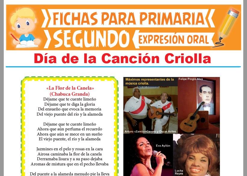 Ficha de Día de la Canción Criolla para Segundo Grado de Primaria