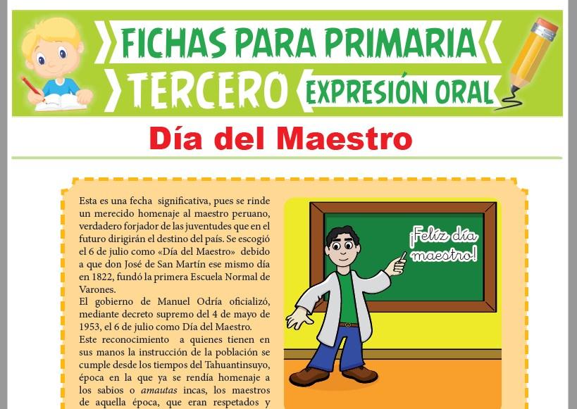 Ficha de Día del Maestro para Tercer Grado de Primaria