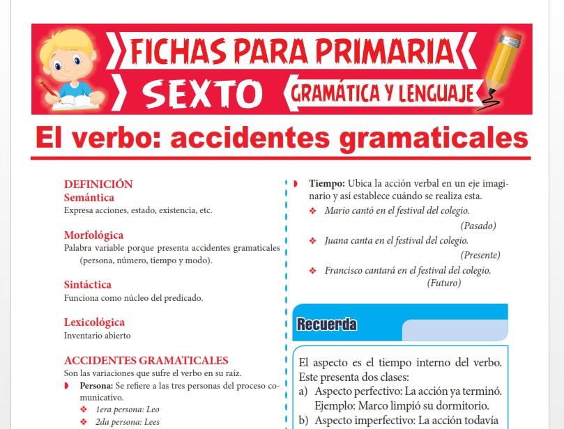 Ficha de Definiciones y Accidentes Gramaticales del Verbo para Sexto Grado de Primaria