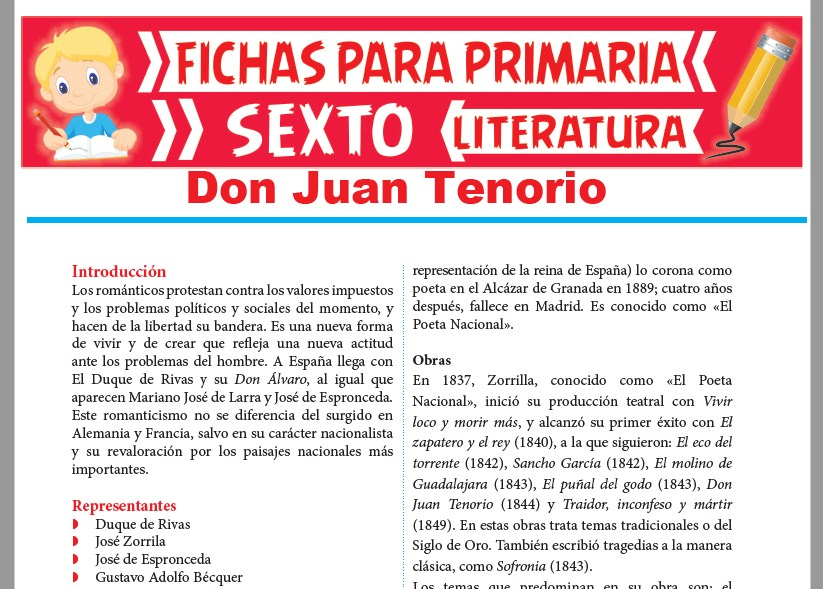 Ficha de Don Juan Tenorio para Sexto Grado de Primaria