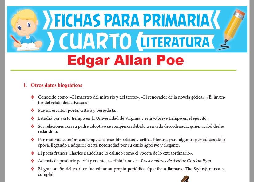 Ficha de Edgar Allan Poe para Cuarto Grado de Primaria