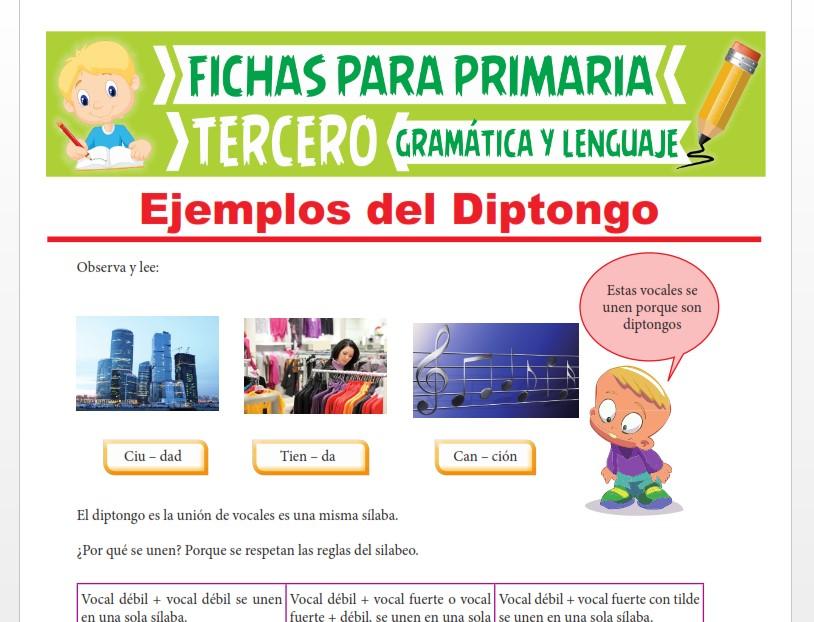 Ficha de Ejemplos del Diptongo para Tercer Grado de Primaria