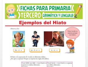 Ficha de Ejemplos del Hiato para Tercer Grado de Primaria
