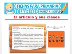 Ficha de El Artículo y sus Clases para Cuarto Grado de Primaria