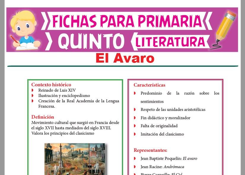 Ficha de El Avaro para Quinto Grado de Primaria|