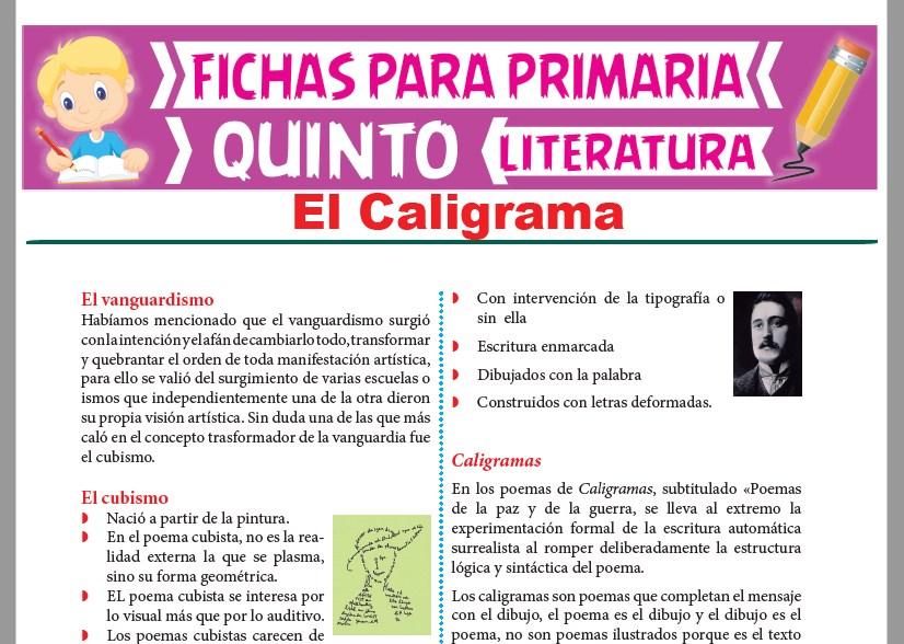 Ficha de El Caligrama para Quinto Grado de Primaria