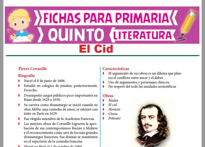 Ficha de El Cid para Quinto Grado de Primaria