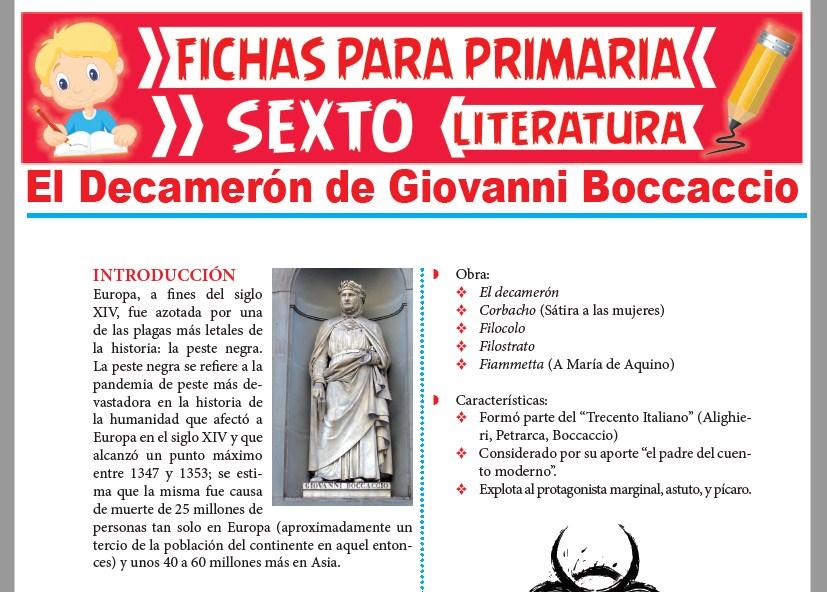 Ficha de El Decamerón de Giovanni Boccaccio para Sexto Grado de Primaria