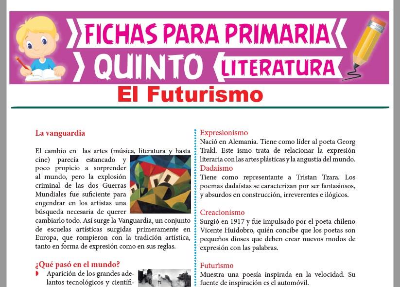 Ficha de El Futurismo para Quinto Grado de Primaria