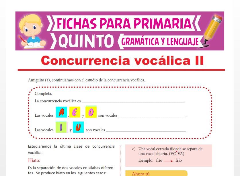Ficha de El Hiato para Quinto Grado de Primaria