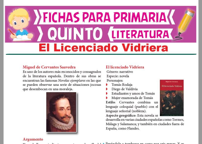 Ficha de El Licenciado Vidriera para Quinto Grado de Primaria