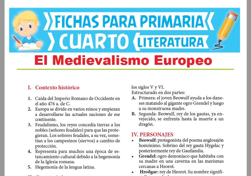 Ficha de El Medievalismo Europeo para Cuarto Grado de Primaria