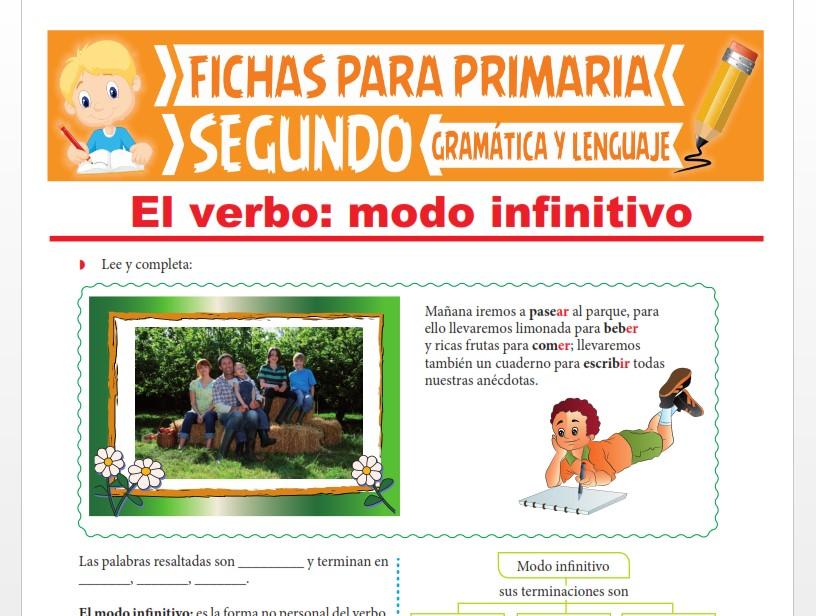 Ficha de El Modo Infinitivo del Verbo para Segundo Grado de Primaria