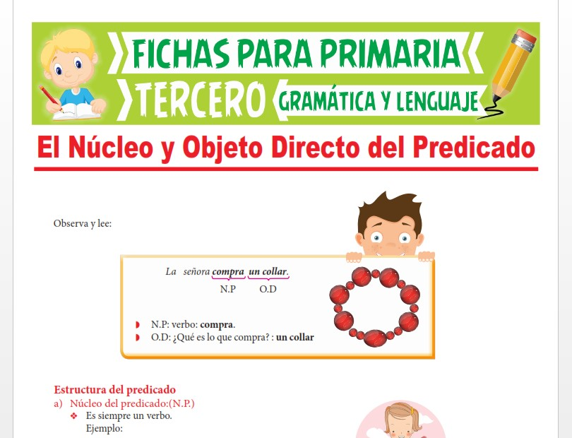 Ficha de El Núcleo y Objeto Directo del Predicado para Tercer Grado de Primaria