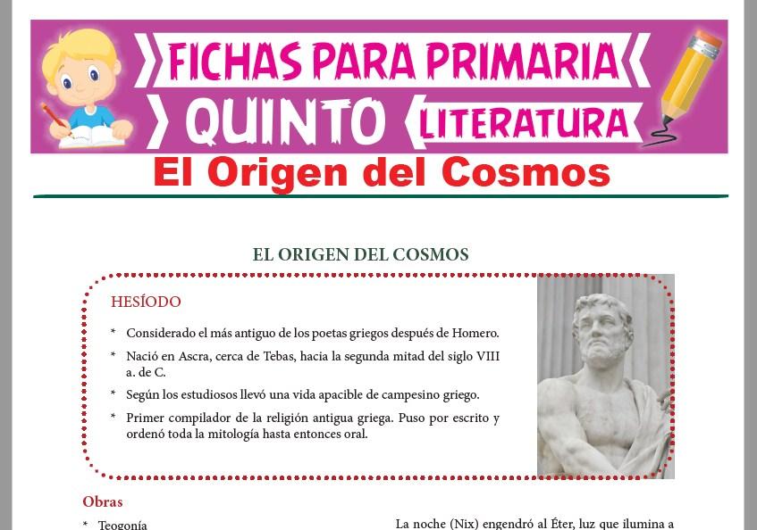 Ficha de El Origen del Cosmos para Quinto Grado de Primaria
