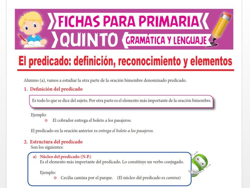 Ficha de El Predicado y su Estructura para Quinto Grado de Primaria