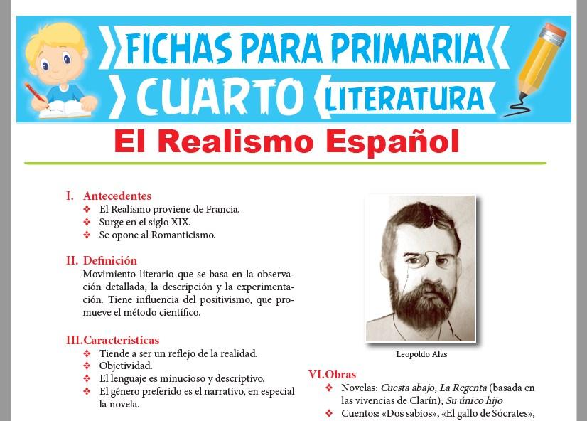 Ficha de El Realismo Español para Cuarto Grado de Primaria