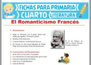 Ficha de El Romanticismo Francés para Cuarto Grado de Primaria