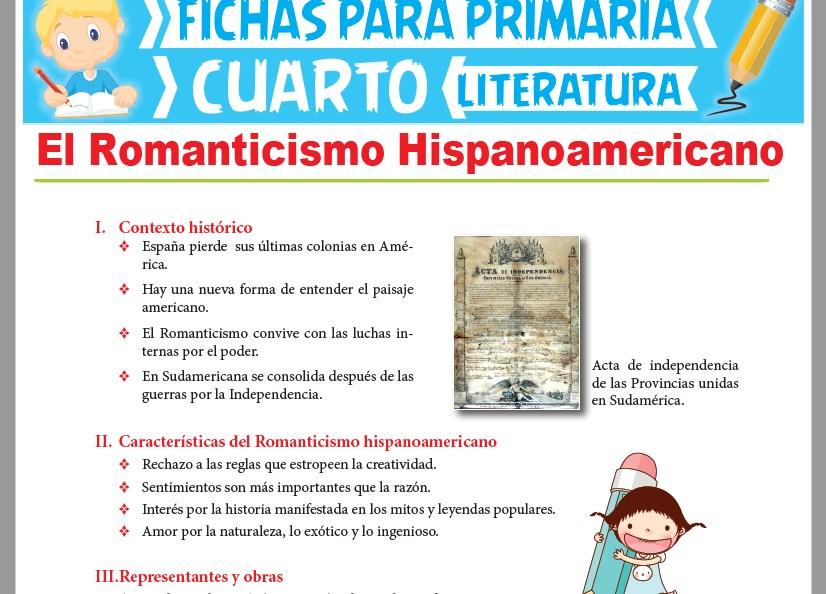 Ficha de El Romanticismo Hispanoamericano para Cuarto Grado de Primaria