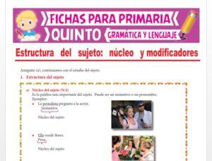 Ficha de El Sujeto y su Estructura para Quinto Grado de Primaria
