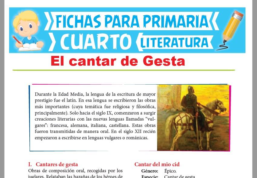 Ficha de El cantar de Gesta para Cuarto Grado de Primaria